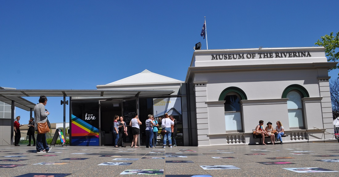 Event-goers outside the Museum of the Riverina Historic Council Chambers site in Wagga Wagga